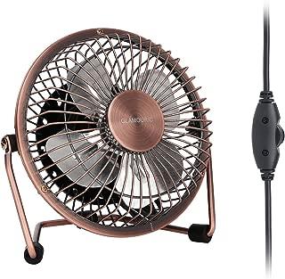 GLAMOURIC Desk Fan - USB Quiet Desk Fan Retro Design Equipped with speed regulator(adjust speeds as you like)for Work Home School Travel (Bronze)