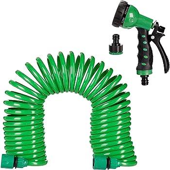 Relaxdays, grün Gartenschlauch mit Brause, flexibel ausziehbar bis 10m, Spiralschlauch, Gartenbrause 7 Strahlarten, Wasserschlauch