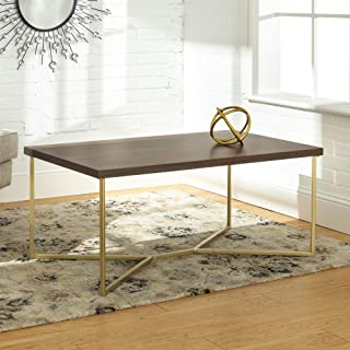 WE Furniture AZF42LUXDWG Mid Century Modern Wood Rectangle Coffee Accent Table Living Room, 42 Inch, Dark Walnut Brown/Gold