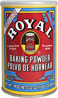 Royal Baking Powder, Gluten Free, Vegan, Vegetarian, Double Acting Baking Powder in a Resealable Can with Easy Measure Lid, Kosher, Halal, 22 oz can (1)