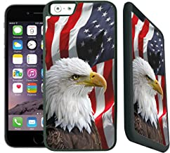 [TeleSkins] -  Rubber TPU Case For iPhone 6 / 6S - Bald Eagle American Flag - Ultra Durable Slim Fit, Protective Plastic with Soft RUBBER TPU Snap On Back Case / Cover. Fits (4.7 inch only)