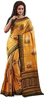 SareesofBengal Women's Hand Block Printed Tussar/Kosa/Tassar Silk Saree mustard Yellow