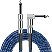 Best 1/4 Inch Cable Guitar Cable 10 Ft Straight to Right Angle 1/4 Inch 6.35mm Plug Bass Keyboard Instrument Cable Blue and Black Tweed Cloth Jacket, Electric Mandolin, pro Audio JOLGOO Review