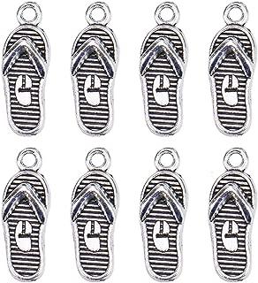 Monrocco 100Pcs Zinc Alloy flip Flops Slipper Charms Pendant Jewelry Findings for Jewelry Making Necklace Bracelet DIY,Antique Silver