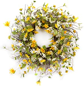 Melrose International Yellow and White Daisy Wreath, 24-Inch