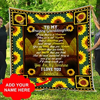 Personalized To My Granddaughter You Are My Sunshine Sunflower Quilt Throw Blanket Christmas Birthday Little Girl Never Forget How Much I Love You Gifts from Grandmother Grandma Grandparents Grandpa