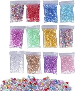 Fishbowl Beads for Slime,Fashionclubs Multi Colored Vase Filler Beads,DIY Art for Homemade Slime,Flat Marbles Pebbles Bowl Filler Gems,Plastic Decoration Beads for Table Scatter,Aquarium Decor,12Pack