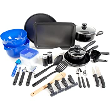 Amazon Com Gibson Home Back To Basics Nonstick Aluminum Cookware Set 59 Piece Black Cookware Sets Kitchen Dining