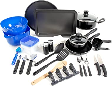 Gibson Home Back to Basics Nonstick Aluminum Cookware Set, 59-Piece, Black