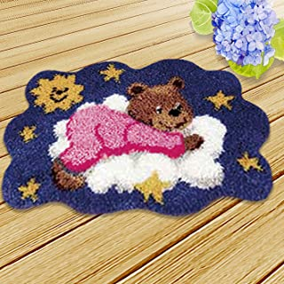 Onebook Animal Pattern Carpet Cushion Latch Hook Kits with Basic Tools DIY Home Ornaments,Making Latch Hooking Kit,Dog Latch Hook Kits(Needlework Unfinished Rug,1 Set)