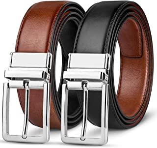 Mens Belt-Leather Dress Belt for Male Classic Black & Reversible (One Piece)