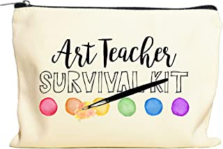 Moonwake Designs Art Teacher Survival Kit Makeup Bag - Art Teacher Gift, Teacher Appreciation, Pencil Holder