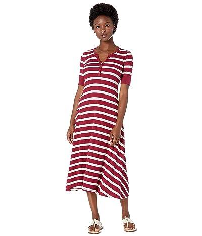 LAUREN Ralph Lauren Petite Waffle Knit Fit-and-Flare Dress (Dark Rasberry/Mascarpone Cream) Women