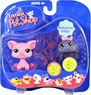 Littlest Pet Shop Hasbro Year 2007 Pet Pairs Series Bobble Head Figure Set - Real Feel Pets #329 Pink Pig and Totally Talented Pets #330 Grey Spider with Realistic Eyes and Cobweb