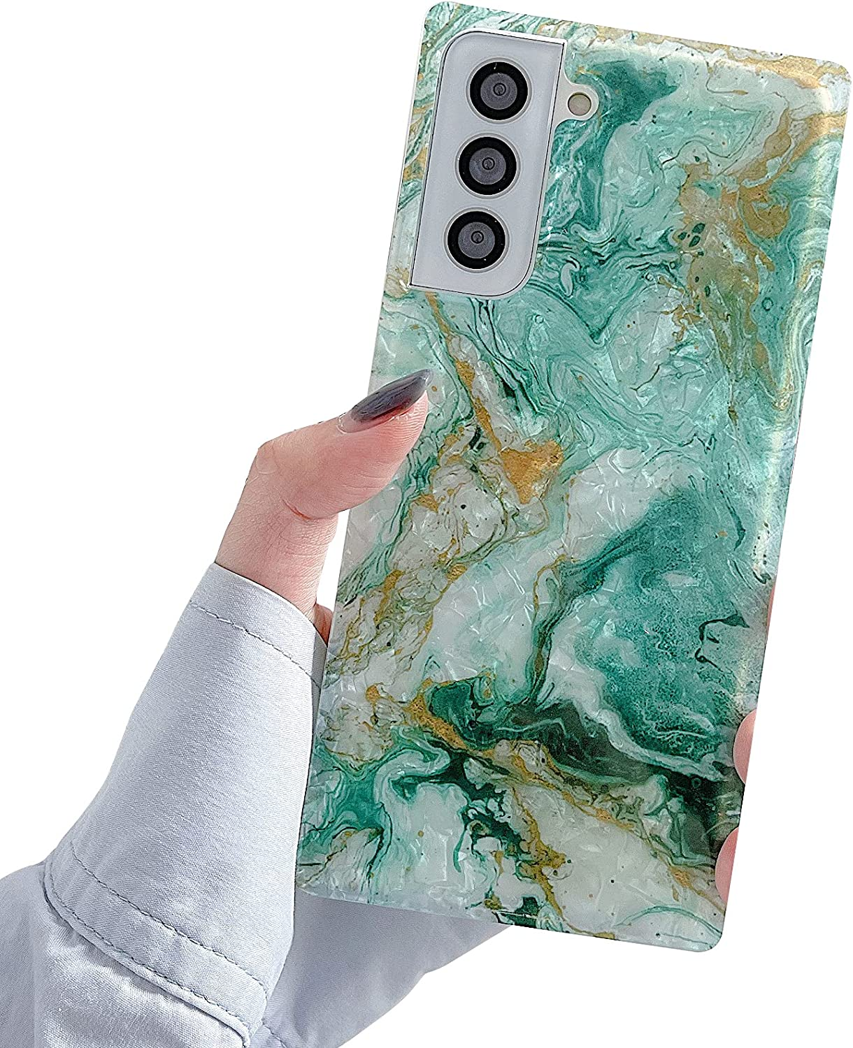 PHYLLA Compatible with Samsung S21+ Square Green Gradient Marble Phone Case for Samsung Galaxy S21 Plus 6.7 inches Soft Shockproof Reinforced Corners Dream Cover