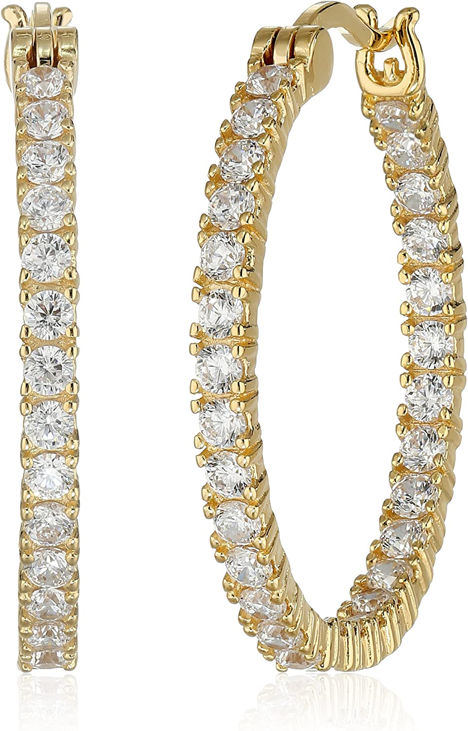 18k Yellow Gold Super special price Plated Sterling Silver Out Cubic Zirconia Inside Max 71% OFF