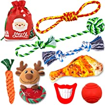 FAYOGOO Christmas Stocking Dog Rope Toys for Aggressive Chewers, 8 Pack Dog Toys, Including Cotton Rope Toys, Indestructible Dog Squeaky Toy for Teeth Cleaning