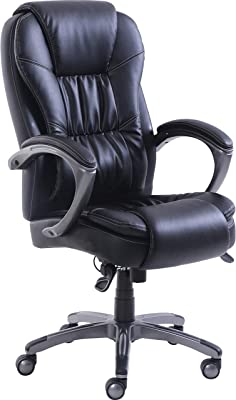 Lorell Active Massage Leather High-Back Chair, Black