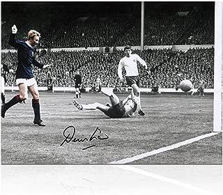 Denis Law Signed Scotland Soccer Photo: Goal Against England