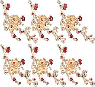Clothes Decoration, Elegant Shiny Flower Shape Beautiful 6Pcs Flower Brooch, Delicate(Red Diamond Plum Branch)