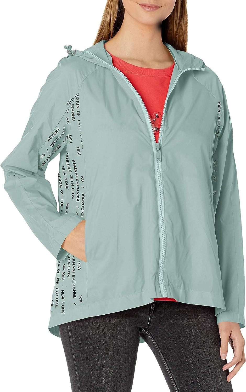 AX Armani Exchange Women's Recycled Nylon Lightweight Logo Stripe Cabin Coat
