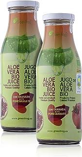 Green Frog Jugo de Aloe Vera Bio con Granada - Pack de 2 Botellas - Producto Fresco - Aloe Vera 99,8% Calidad Premium - 2x500 ml