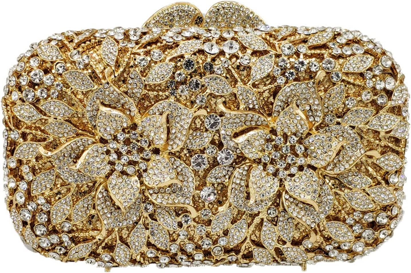 Women's Evening Bag Flower Clutch Bag Women Crystal Evening Bags Wedding Party Shoulder Handbag Hollow Out Dress Purse (Color : Gold, Size : Small)