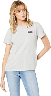 TOMMY HILFIGER Women's Flag Embroidered T-Shirt, Light Grey HTR