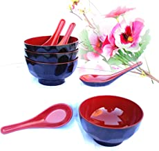 1 Set: 4 Pc Red/blk Lacquer Rice Miso Soup Bowl Bowls & 4 Asian Style Deep Spoons