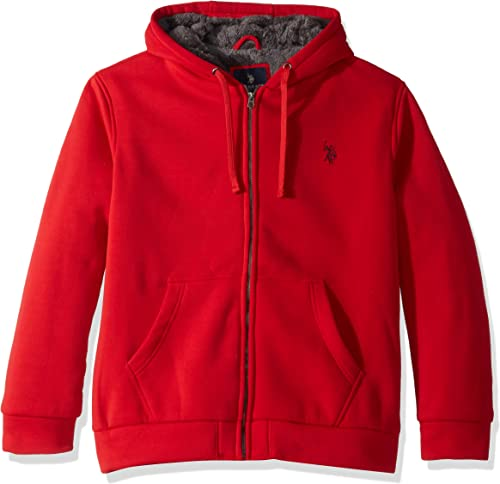 U.S. Polo Assn. Hommes's Sherpa Lined Fleece sweat à capuche, Engine rouge, M