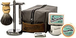 Gentleman Jon Deluxe Wet Shave Kit | Includes 8 Items: Safety Razor, Badger Hair Brush, Shave Stand, Canvas & Leather Dopp...
