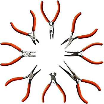 8 Pcs Set of Plier Tools by Kurtzy - Wire Cutters, Flat Nose Pliers, Round Nose Pliers and more - Heavy Duty Tool Kit for Electrical and Wood Work, DIY and Jewellery Making - Ergonomic Handle (Small)