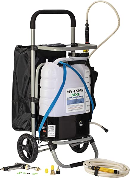 My 4 Sons 4 Gallon Battery Powered Backpack Sprayer With 0 60 PSI PRESSURE DIAL ADJUSTABLE BRASS NOZZLE AND 16 35 INCH STAINLESS HD WAND CART And 15ft EXTENDED HOSE And SPRAY PISTOL