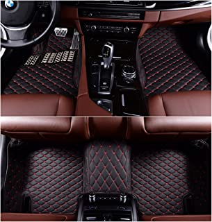 OkuTech Custom Fit XPE-Leather All Full Surrounded Waterproof Car Floor Mats for Mercedes Benz S Class S280 S300 S320 S400 S500 S550 2010-2013,Black with red Stitching