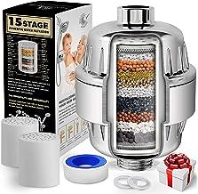 AquaHomeGroup 15-traps douchefilter met vitamine C voor hard water - Hoogrendementdouchewaterfilterverwijdertchlooren fluo...