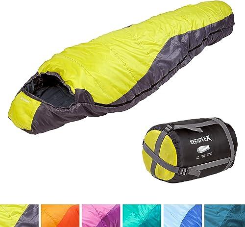 KeenFlex Saco de Dormir Tipo Momia para 3 Estaciones Extra cálido y Ligero, Compacto, Resistente al Agua y con Contro...