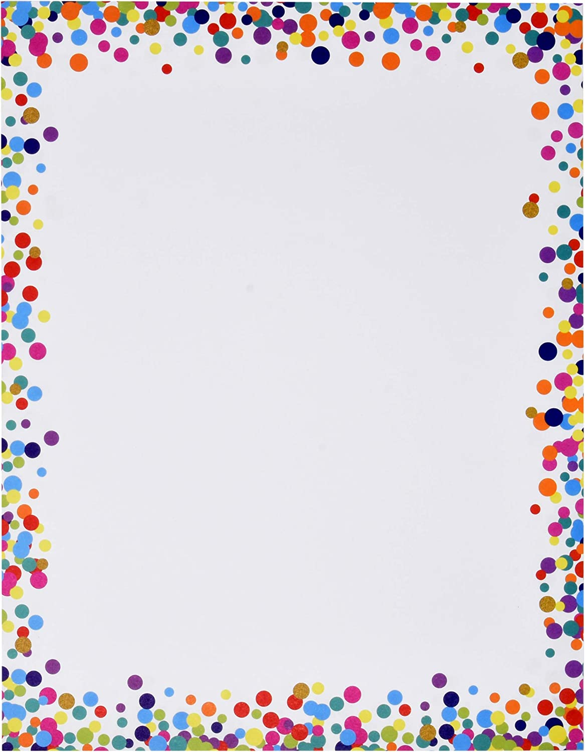 """Confetti Computer Paper Letterhead 100 Pack Colorful Border Dot Design Stationery Sheets Double Sided 8.5"""" x 11"""" For Writing Calligraphy Letters Invitations Scrapbook Crafts Printing & Office Supplies : Office Products"""