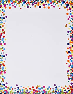 """Confetti Computer Paper Letterhead 100 Pack Colorful Border Dot Design Stationery Sheets Double Sided 8.5"""" x 11"""" For Writing Calligraphy Letters Invitations Scrapbook Crafts Printing & Office Supplies"""