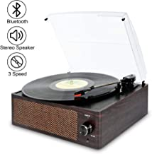 Bluetooth Record Player Belt-Driven 3-Speed Turntable, Vintage Vinyl Record Players..