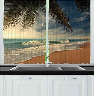 Ambesonne Beach Kitchen Curtains, Tropical Seashore in Sri Lanka Exotic Coastline Palm Trees and Waves, Window Drapes 2 Pa...