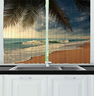 Ambesonne Beach Kitchen Curtains by, Tropical Seashore in Sri Lanka Exotic Asian Coastline Palm Trees and Waves, Window Drapes 2 Panels Set for Kitchen Cafe, 55W X 39L Inches, Blue Sand Brown Green