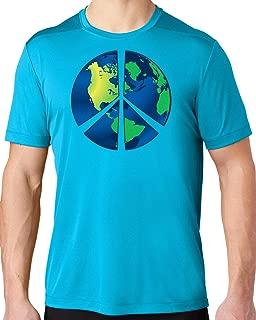Men's Blue Earth Peace Sign Hot Yoga Tee Shirt