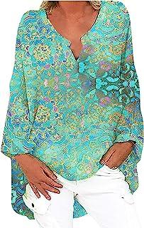 Auenix Damen Langarm Bluse Oversize Leinenbluse Elegant Druck Shirt Leinen V-Ausschnitt Longshirt Oberteile Tunika Lose Lang Tops Leinenhemd