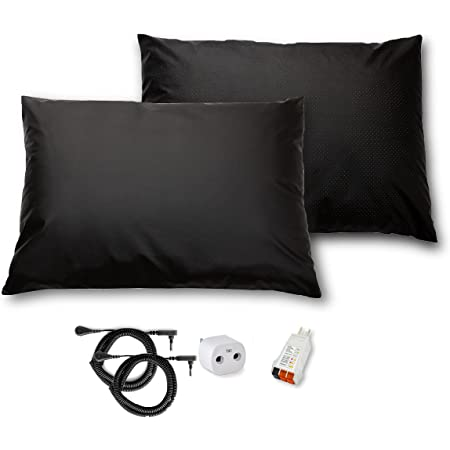 Grounding Pillow Case 2 Pack, Standard Size Pillow Covers to Improve Sleep, Energy, Snoring, and Beauty with Clint Ober's EARTHING Products
