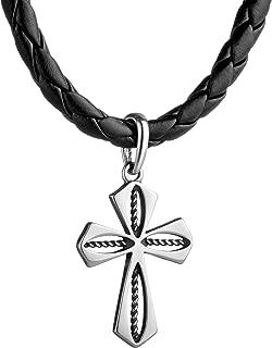 Kreuz Kette Herren neu Leder schwarz Kreuzkette Surfer Herrenkette Lederkette