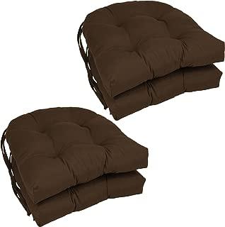 Blazing Needles Solid Twill U-Shaped Tufted Chair Cushions (Set of 4), 16