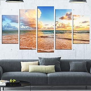 Designart Beautiful Cloudscape Large Beach Glossy Metal Wall Art, 60x32-5 Panels Diamond Shape, Blue