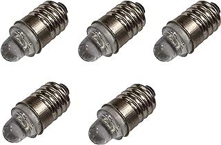 Miniature LED Flashlight Bulbs, 3 Volt Mini Lamps, COOL WHITE, E10 Small LED Bulbs, Pack of 5