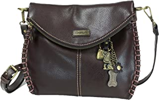 fab435153755 Chala Charming Crossbody Bag with Zipper Flap Top and Metal Chain - Dark  Brown