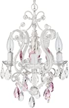 Amalfi Decor 4 Light LED Crystal Beaded Chandelier, Mini Wrought Iron Pink K9 Glass Pendant Light Fixture Contemporary Nursery Kids Room Dimmable Plug in Hanging Ceiling Lamp, White